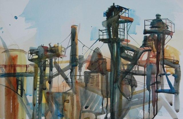 "Fish Food Factory 14.5""x22"" watercolor"