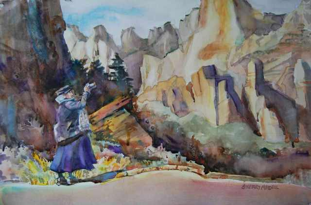 """Epiphany on the Road to Zion"" 14"" x 22"" watercolor on paper"