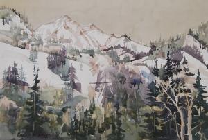 """Winter's Last"" watercolor on 1/2 sheet watercolor paper."