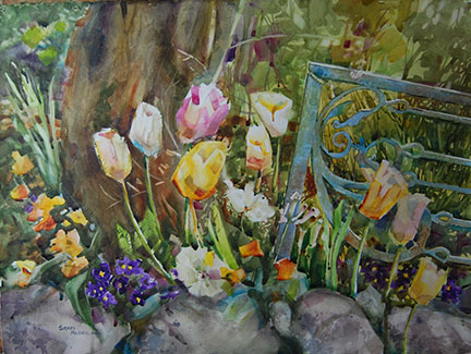 "Tulips at the Gate by Sherry Meidell 21"" x 29"" watercolor"