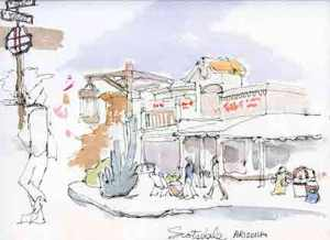 My sketch of a street in Scottsdale.