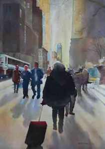 Destination New York watercolor on paper.