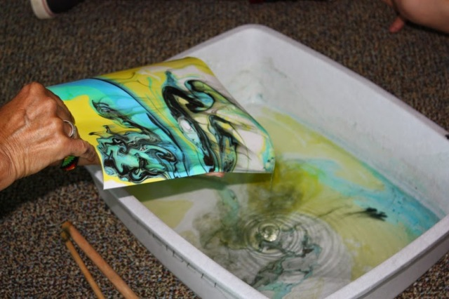 The dyes are dramatically brighter on the paper. photo by Ivana Radu