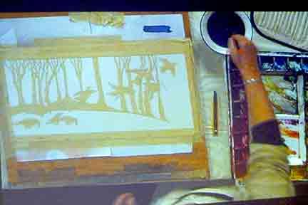 Masking the illustration with masking tape