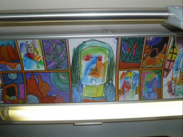 Student art inside the bus