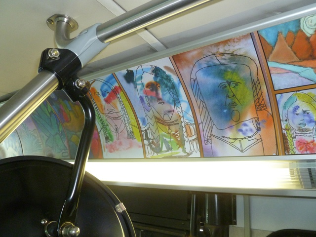 Student art displayed in the bus