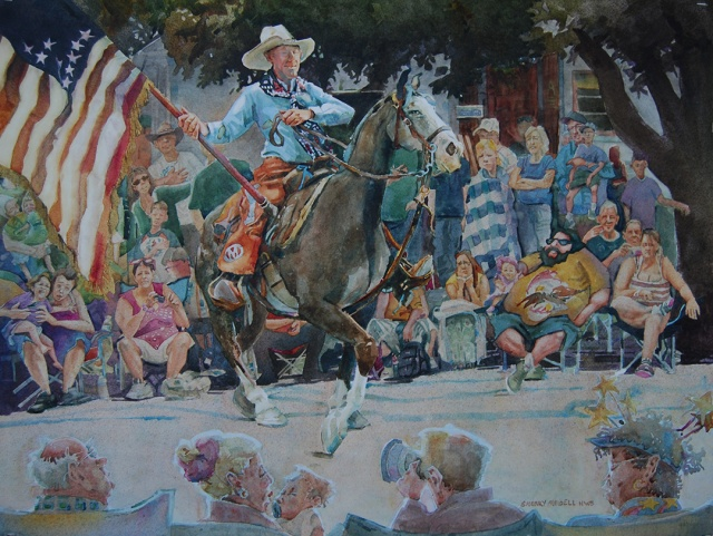 "Blue Ribbon award winner ""Old Glory"" received 1st place in the watercolor division at the Utah State Fair."