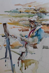 This is my painting from the Plein Air Day of the Charles Reid Watercolor Workshop in Cache Valley