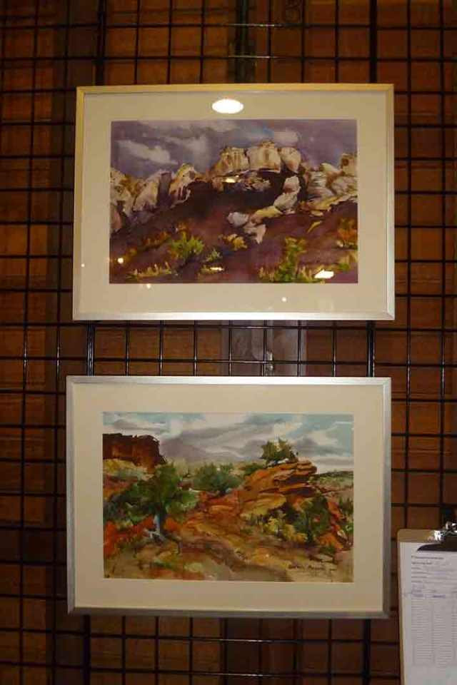 Two watercolors painted in the Second Annual Watercolor Plein Air Painting Competition at Capitol Reef