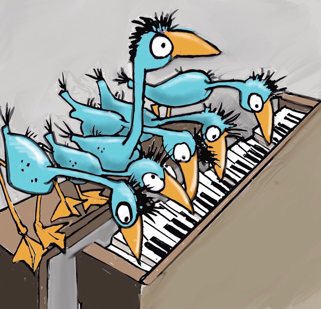 Illustration of baby blue heron chicks, six of them all playing the piano together. Illustration by children's book illustrator Sherry Meidell